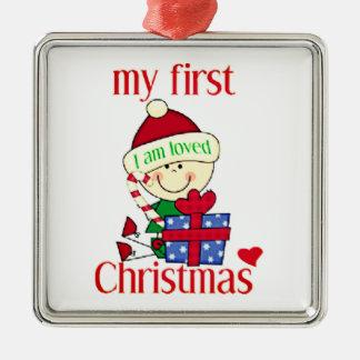Ornement Carré Argenté Mon premier Noël je suis aimé
