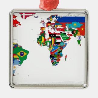 Ornement Carré Argenté Monde pendant - carte des drapeaux du monde