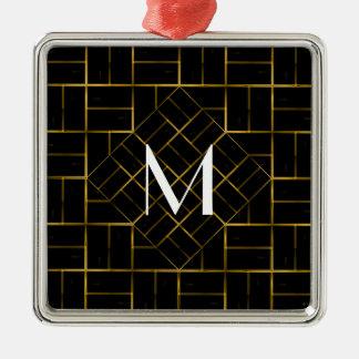 Ornement Carré Argenté Monogramme géométrique élégant de motif d'art déco