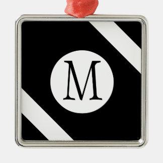 Ornement Carré Argenté Monogramme noir et blanc moderne, simple et