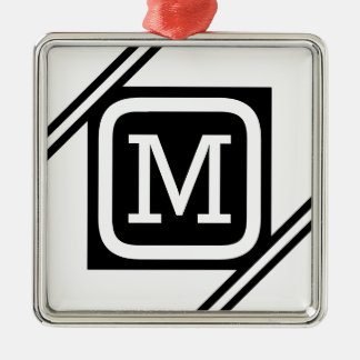 Ornement Carré Argenté Monogramme rayé par carré de base blanc et noir