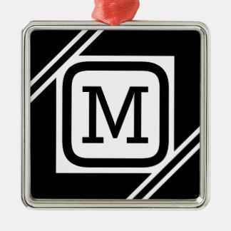 Ornement Carré Argenté Monogramme rayé par carré simple noir et blanc