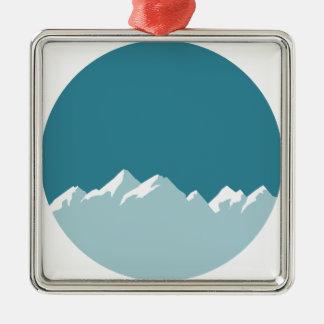 Ornement Carré Argenté montagne
