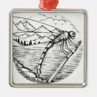 Ornement Carré Argenté Montagne de libellule à l'intérieur de tatouage