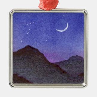 Ornement Carré Argenté Montagnes d'Orion et de croissant de lune