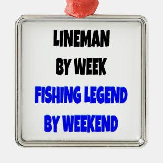 Ornement Carré Argenté Monteur de lignes de légende de pêche