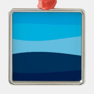 Ornement Carré Argenté Motif abstrait - bleu