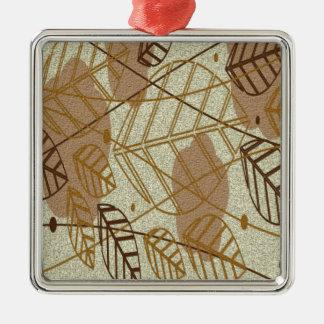 Ornement Carré Argenté Motif bronzage floral de Brown de fleur de feuille