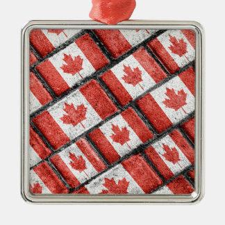 Ornement Carré Argenté Motif canadien de motif de drapeau