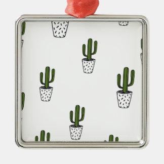 Ornement Carré Argenté Motif de cactus