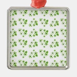 Ornement Carré Argenté Motif de fleurs vert
