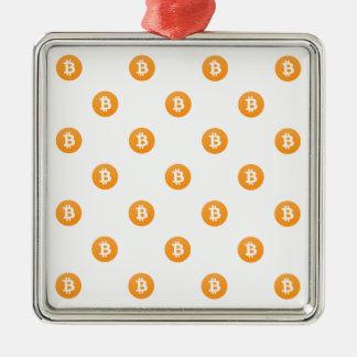 Ornement Carré Argenté Motif de logo de Bitcoin
