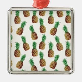 Ornement Carré Argenté Motif de papier peint d'ananas