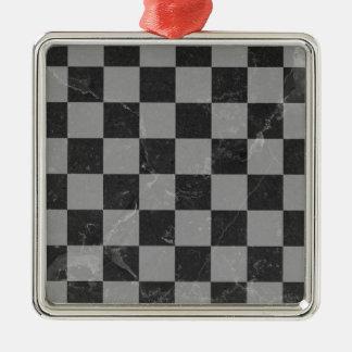 Ornement Carré Argenté Motif d'échecs