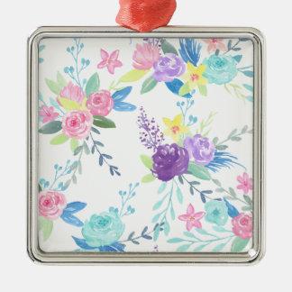 Ornement Carré Argenté Motif floral de couleur en pastel d'aquarelle