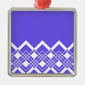 Ornement Carré Argenté Motif géométrique abstrait - bleu et blanc