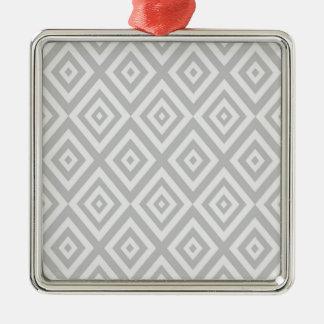 Ornement Carré Argenté Motif géométrique abstrait - gris