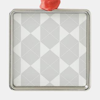 Ornement Carré Argenté Motif géométrique abstrait - gris et blanc