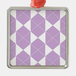 Ornement Carré Argenté Motif géométrique abstrait - pourpre