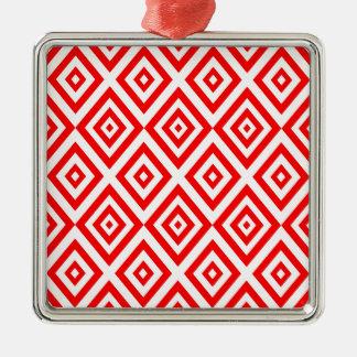 Ornement Carré Argenté Motif géométrique abstrait - rouge et blanc