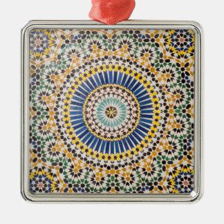 Ornement Carré Argenté Motif géométrique de tuile, Maroc