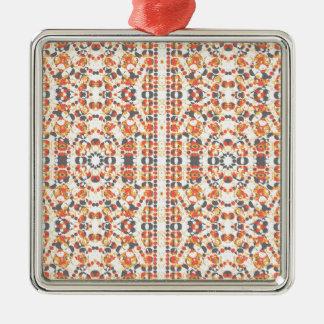Ornement Carré Argenté Motif géométrique multicolore