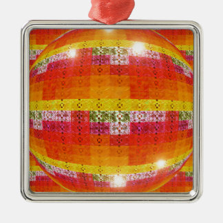 Ornement Carré Argenté Motif orange de boule de disco