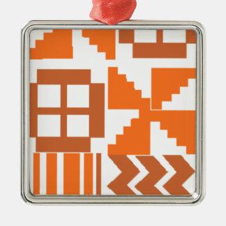 Ornement Carré Argenté Motif orange de Khanga