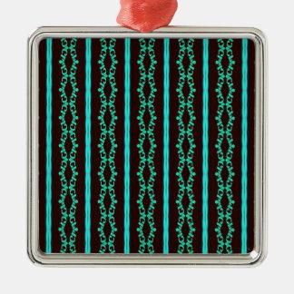 Ornement Carré Argenté Motif rayé turquoise au néon moderne