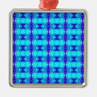 Ornement Carré Argenté Motif tribal bleu au néon coloré de bleu royal