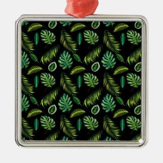 Ornement Carré Argenté Motif tropical Tiki floral fait main de feuille