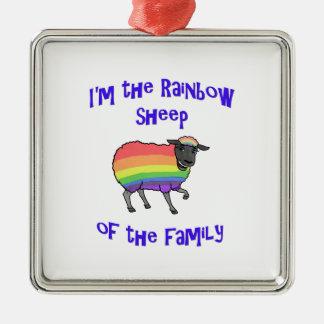 Ornement Carré Argenté Moutons d'arc-en-ciel de la famille