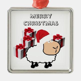 Ornement Carré Argenté Moutons mignons lunatiques drôles de Noël
