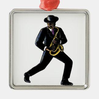 Ornement Carré Argenté Musicien de jazz jouant le saxophone Scratchboard