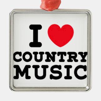 Ornement Carré Argenté musique country du coeur i