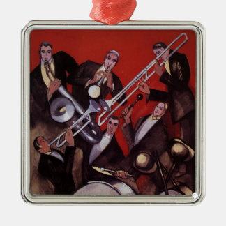 Ornement Carré Argenté Musique vintage, bloquer musical de jazz-band