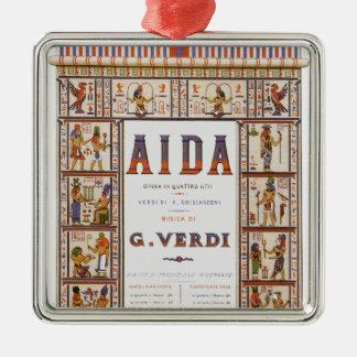 Ornement Carré Argenté Musique vintage d'opéra, Egyptien Aida par Verdi