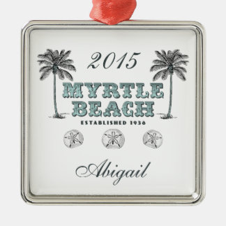 Ornement Carré Argenté Myrtle Beach vintage personnalisé la Caroline du
