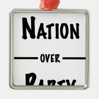 Ornement Carré Argenté Nation au-dessus de collection de cadeau de partie
