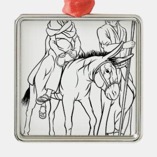 Ornement Carré Argenté Nativité Mary et illustration de Noël de Joseph