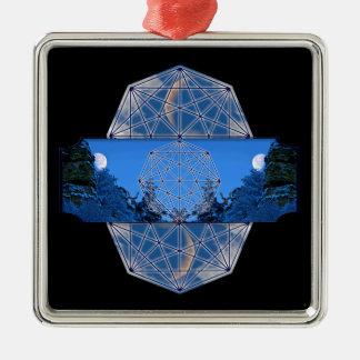 Ornement Carré Argenté Nature sacrée de lune de la géométrie