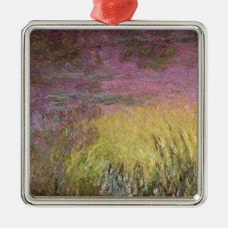 Ornement Carré Argenté Nénuphars de Claude Monet   au coucher du soleil