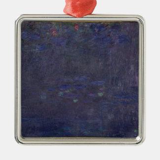 Ornement Carré Argenté Nénuphars de Claude Monet   : Réflexions des