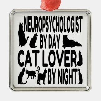 Ornement Carré Argenté Neuropsychologist d'amoureux des chats