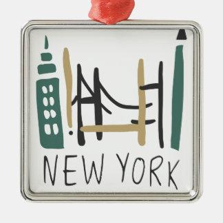 Ornement Carré Argenté New York