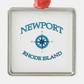 Ornement Carré Argenté Newport Île de Rhode nautique