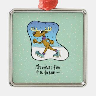 Ornement Carré Argenté Noël courant de renne d'exercice