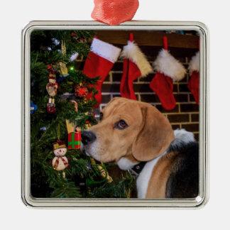 Ornement Carré Argenté Noël de beagle