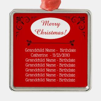 Ornement Carré Argenté Noël de noms de petits-enfants pour des