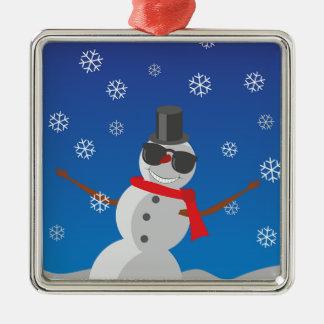 Ornement Carré Argenté Noël d'hiver de neige d'homme de neige